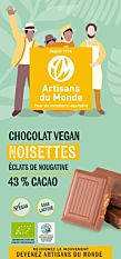 Chocolat noisettes & éclats de nougatine 43% de cacao 100G Bio