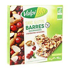 Barres Cranberries Amandes 90G Bio