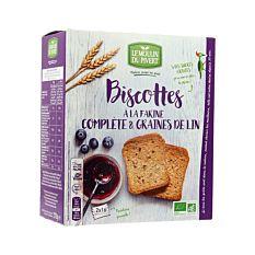 Biscottes farine complète & graines de lin sans sucres 270G Bio