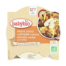 Assiette patate douce, châtaigne & pintade 12M 230G Bio