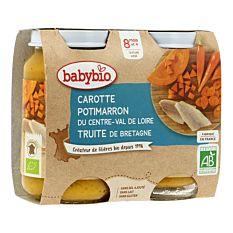 Petits pots carotte, potimarron & truite 8M 2x200g Bio