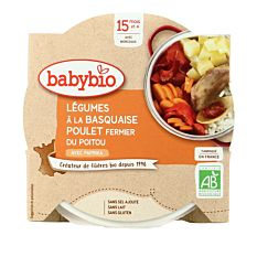 Assiette de Légumes basquaise & Poulet dès 15M 260g Bio