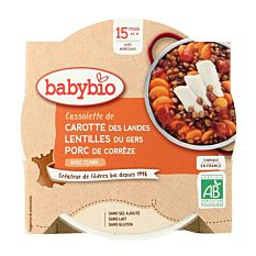 Cassolette de Carotte Lentilles et Porc dès 15M 260g Bio