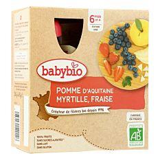 Gourdes Pomme Myrtille & Fraise dès 6M 4x90g Bio