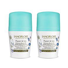 LOT*2 Pureté de lin déodorant anti-traces efficacité 24h 2x50ml Bio