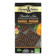 Carrés de Chocolat noir fourrés Mangue-Passion 80g Bio