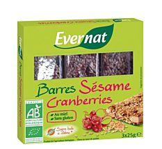 Barres sésame & cranberries 3x25G Bio