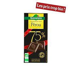 Chocolat noir dégustation 75% Pérou 100G Bio