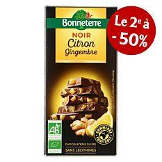 Chocolat noir citron gingembre 100G Bio