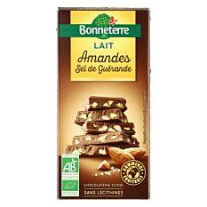Chocolat au lait amandes & sel de Guérande 100G Bio