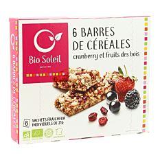 Barres de céréales Cranberry & Fruits des bois 6x21G Bio