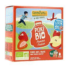 Poki pomme fraise sans sucres ajoutés 4x90G Bio