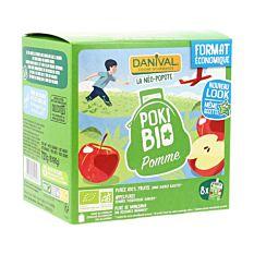 Poki purées 100% fruits pomme sans sucres ajoutés 8X90g Bio