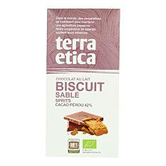 Chocolat au Lait Pérou 42% au biscuit sablé 100g Bio