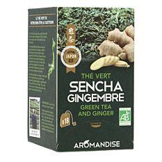 Thé vert sencha gingembre 18 infusions Bio