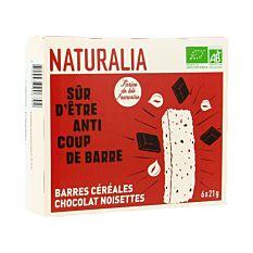 Barres de céréales chocolat noisettes x6 125G Bio