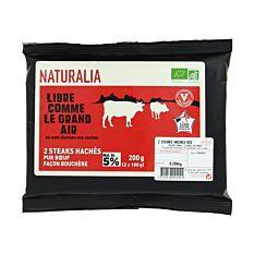 Steaks hachés pur bœuf façon bouchère 5% 2x100g Bio