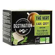 Thé vert Earl Grey de Ceylan - 20 infusions Bio