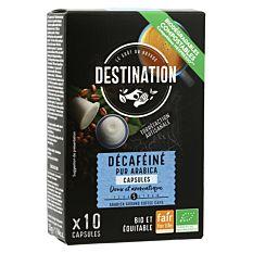 Café pur arabica décaféiné 10 capsules Bio
