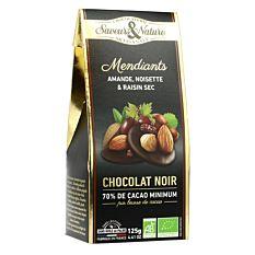 Mendiants au Chocolat noir 70% & Fruits secs 125g