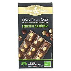 Chocolat lait noisettes 100g Bio