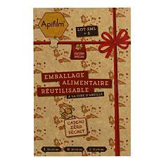 Emballage alimentaire en cire d'abeille Spéciale Noël