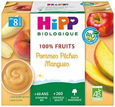 Hipp Pommes Pech Mangue 4X100G Bio