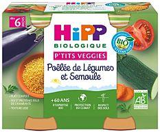 Poêlée de Légumes et Semoule dès 6M 2x190g Bio