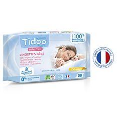 Lingettes pour bébé au calendula non parfumées x58 Bio