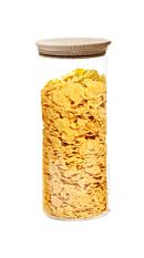 Bocal en verre avec couvercle en bois de hêtre 1,4L