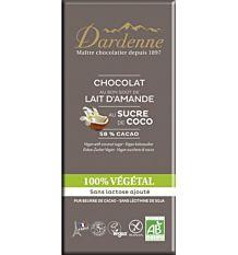 Chocolat lait d'amande, sucre de coco sans gluten 100G Bio