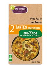 Tarte épinards mozzarella tomate x2 250G Bio